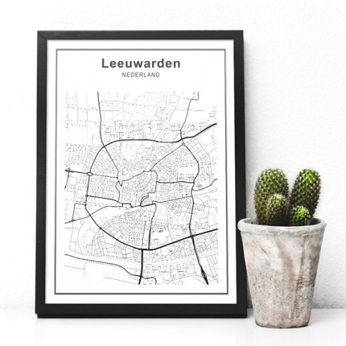 stadskaart-leeuwarden-zwart-wit-interieur